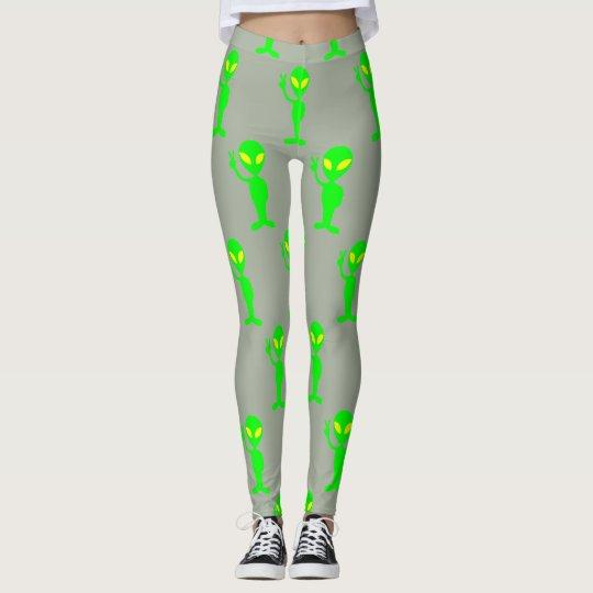 Grey and Lime Green Alien Leggings