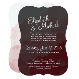 Grey and Maroon Wedding Invitation