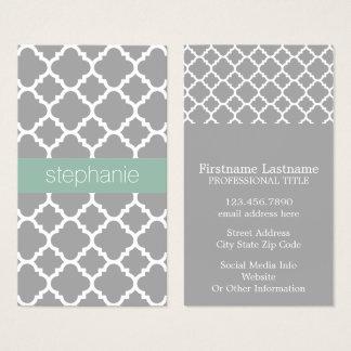 Grey and Mint Quatrefoil Pattern Custom Name Business Card