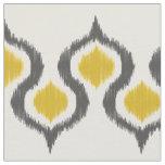 Grey and Mustard Ikat Tribal Pattern Fabric