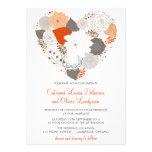 Grey and Orange Heart Flowers Wedding Invitation