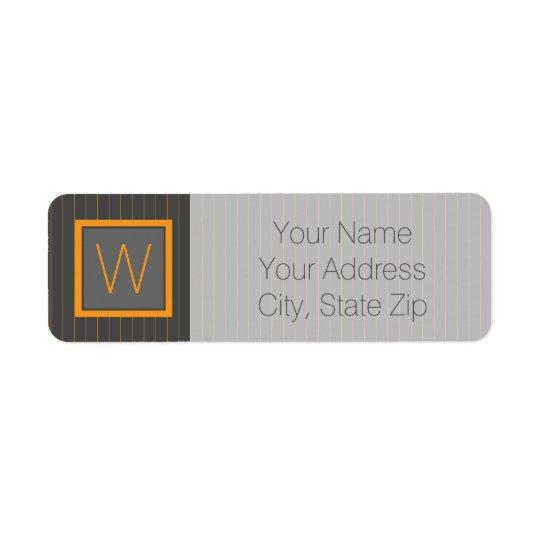 Grey and Orange Pinstripes Return Address Label