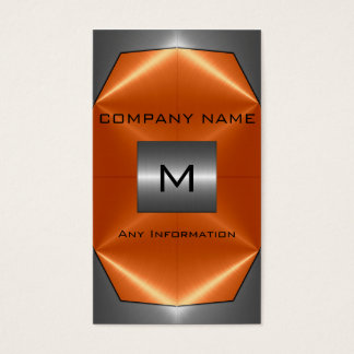 Grey and Orange Stainless Steel Metal Business Card