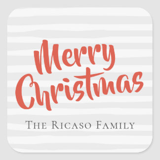 Grey and Orange Typography Personalized Christmas Square Sticker