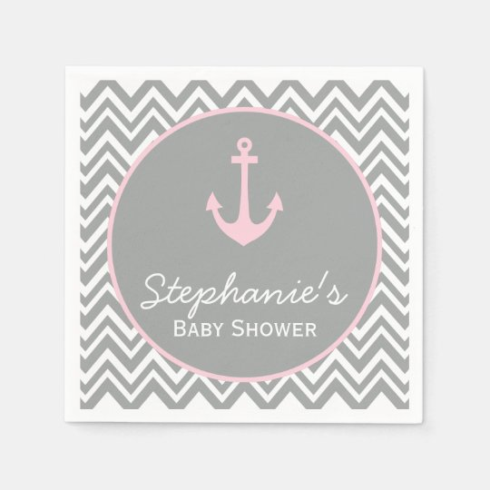 Grey and Pastel Pink Chevron Nautical Baby Shower Disposable Napkins