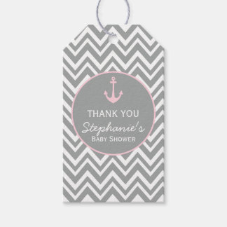 Grey and Pastel Pink Chevron Nautical Baby Shower Gift Tags