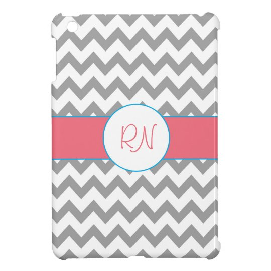 Grey and Pink Chevron Monogram iPad Mini Case