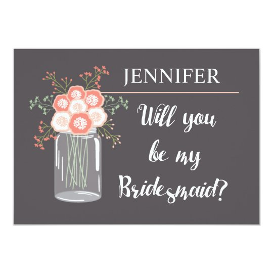 grey and pink floral will you be my bridesmaid? card
