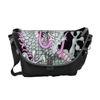 Grey and Pink Japanese Dragon Tattoo Wind Bars Courier Bags