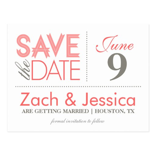 Grey and Pink Modern Typography Save the Date Postcard