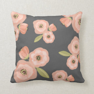 Grey and Pink Watercolor Floral Throw Pillow