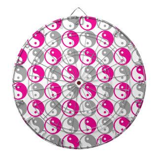 Grey and pink yin yang pattern dart boards