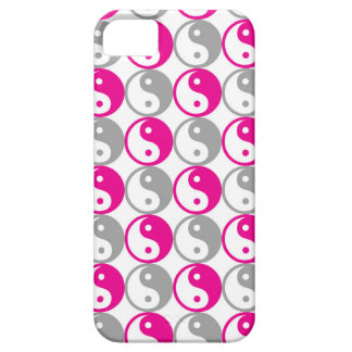 Grey and pink yin yang pattern iPhone 5 cases