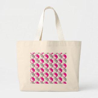 Grey and pink yin yang pattern large tote bag
