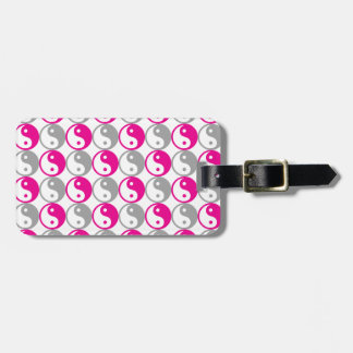 Grey and pink yin yang pattern luggage tag
