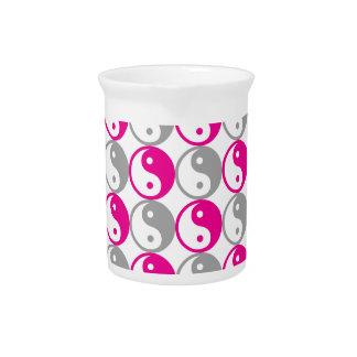 Grey and pink yin yang pattern pitcher