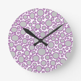 Grey and Purple Polka Dots Clock