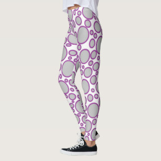 Grey and Purple Polka Dots Leggings
