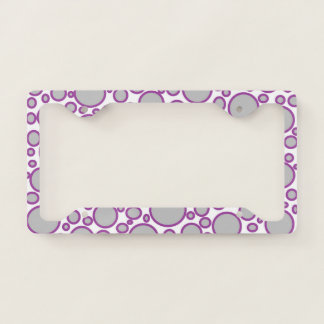 Grey and Purple Polka Dots License Plate Frame
