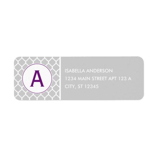 Grey and Purple Quatrefoil Monogram