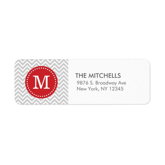 Grey and Red Modern Chevron Custom Monogram Return Address Label