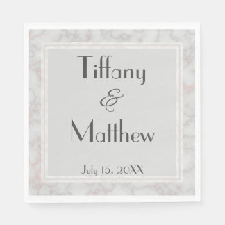 Grey and Rose Pink Marbled Personalized Wedding Napkin