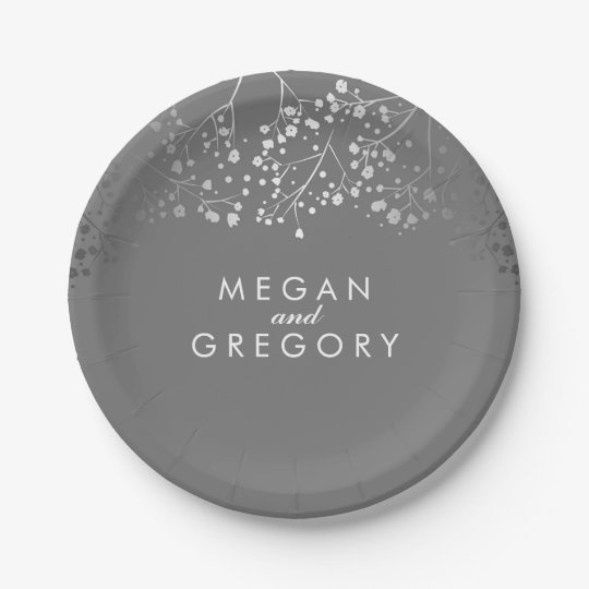 Grey and Silver Baby's Breath Wedding 7 Inch Paper Plate