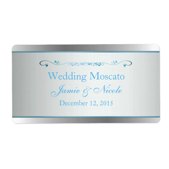 Grey and Silver Wedding Mini Wine Labels