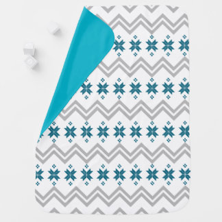Grey and Teal Alpine Pattern Baby Blanket