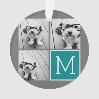 Grey and Teal Instagram Photo Collage Monogram