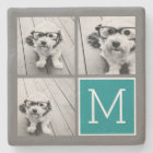 Grey and Teal Instagram Photo Collage Monogram Stone Coaster