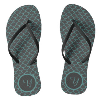 Grey and Teal Mermaid Scale Pattern Flip Flops