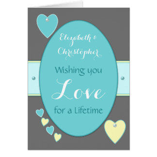 Grey and Turquoise Wedding Day Greeting Card