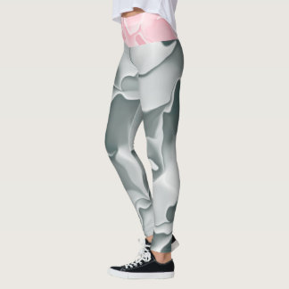 Grey and White and Pink and White Wave Pattern Leggings