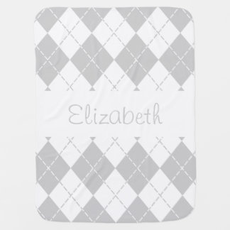 Grey and White Argyle Baby Name Blanket