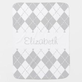 Grey and White Argyle Baby Name Blanket Stroller Blankets