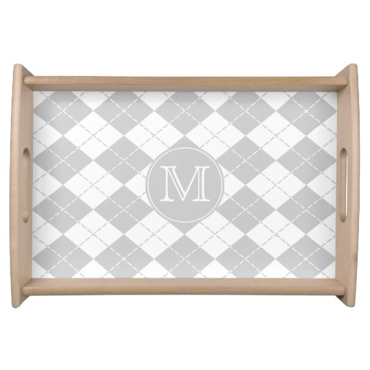 Grey and White Argyle Monogrammed Serving Tray