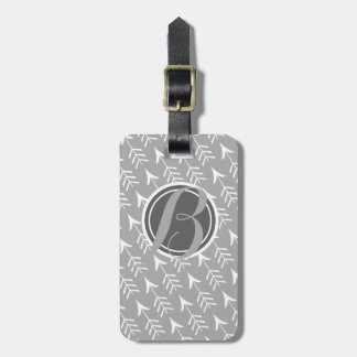 Grey and White Arrows with Monogram Bag Tag