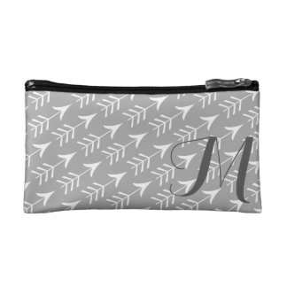 Grey and White Arrows with Monogram Cosmetics Bags