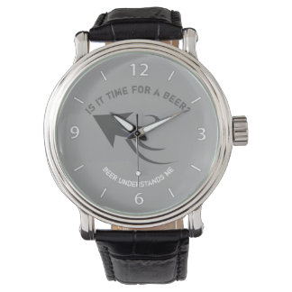 Grey and white beer quote wristwatch