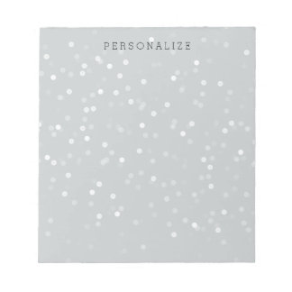 Grey and White Bokeh Confetti Notepads