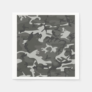 Grey and White Camouflage II Disposable Napkins