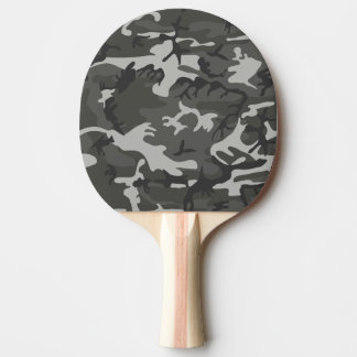 Grey and White Camouflage II Ping Pong Paddle