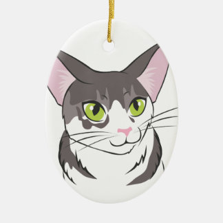 Grey and White Cat Ceramic Oval Ornament