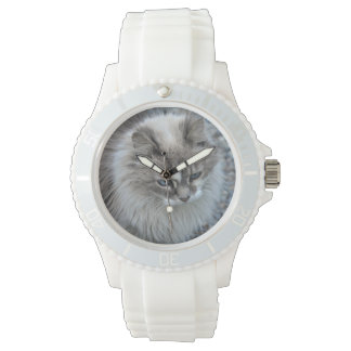 Grey and white cat wristwatches