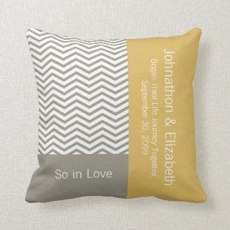 Grey and White Chevron Chic Commemorative Wedding Throw Pillow