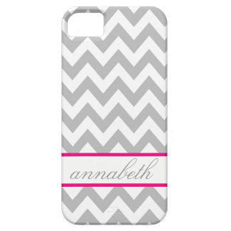 Grey and White Chevron Hot Pink Monogram iPhone 5 Case