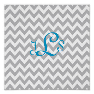 Grey and White Chevron Monogram Nursery Print