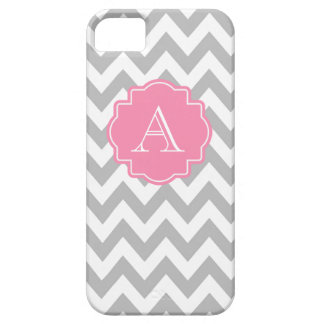 Grey and White Chevron Pink Monogram iPhone 5 Covers