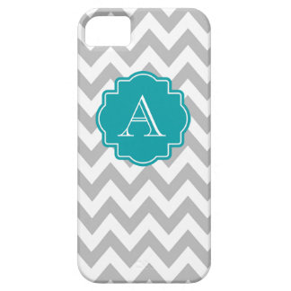 Grey and White Chevron Teal Monogram iPhone 5 Cover